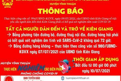 Huyện Vĩnh Thuận thực hiện nghiêm các biện pháp phòng chống dịch covid 19